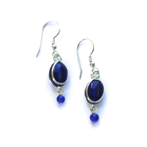 Blue Glass Dangle Earrings - India