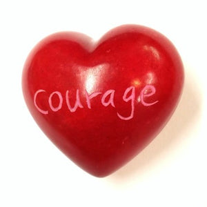 Courage Soapstone Word Heart - Kenya