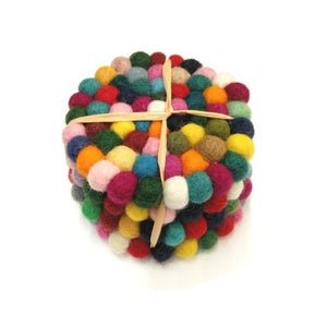 Felt Ball Coasters Set - Nepal