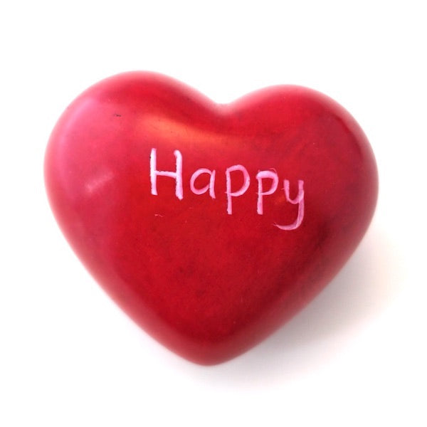 Happy Soapstone Word Heart - Kenya