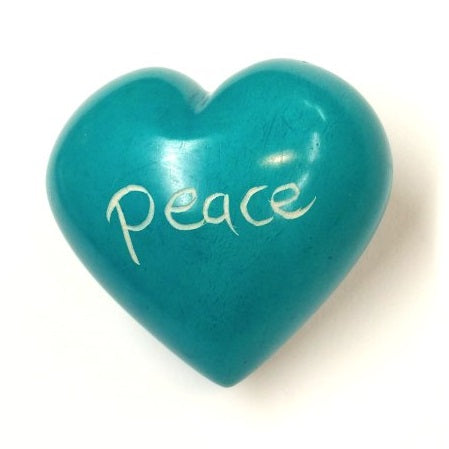 Peace Soapstone Word Heart - Kenya