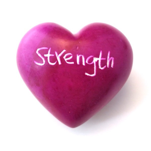 Pink Strength Soapstone Word Heart - Kenya