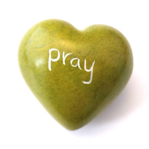 Pray Soapstone Word Heart - Kenya