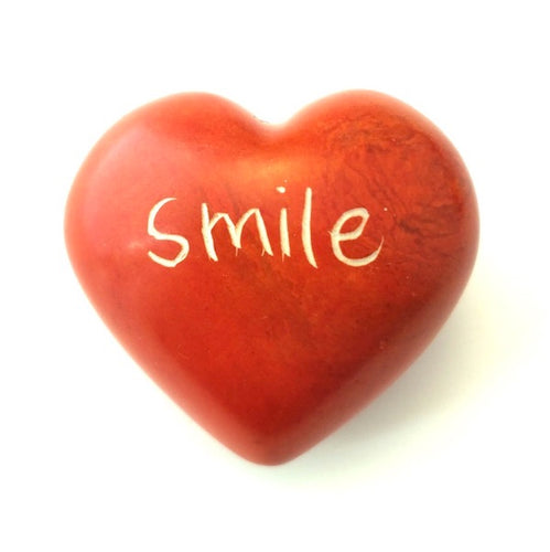 Smile Soapstone Word Heart - Kenya