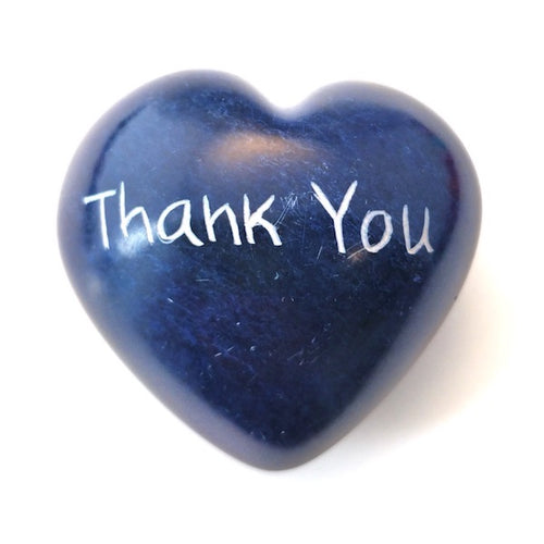 Thank You Soapstone Word Heart - Kenya