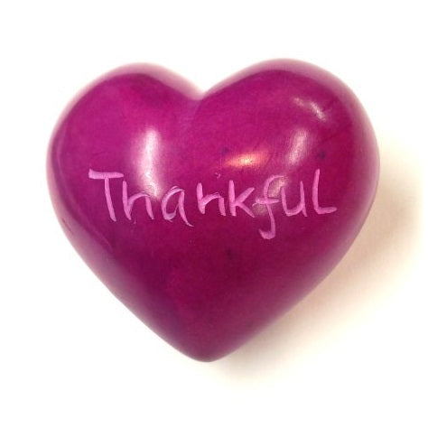 Thankful Soapstone Word Heart - Kenya