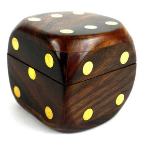 Sheesham Wood Box with 5 Dice - India