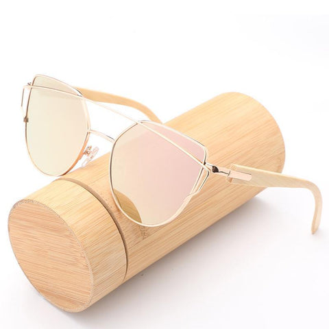 Sexy Cat Eye Sunglasses for Women – UV400 Lens, anti-UVA and UVB Sunrays – Eye Protection –Wooden Frame – Polycarbonate Lens