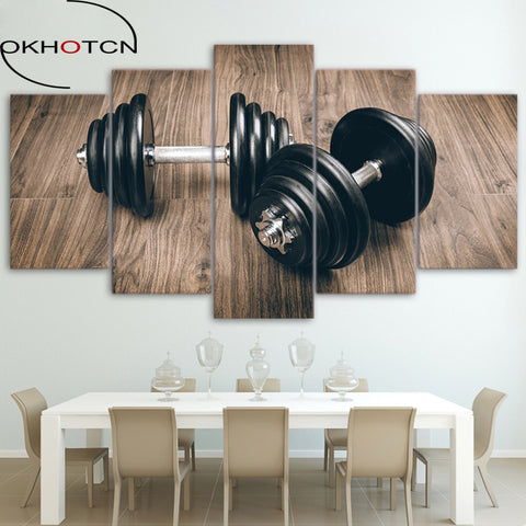 Canvas Art Wall Painting – 5-Piece Combination of Dumbbell Image - Fitness-themed for Fitness Freaks, Enthusiasts, and Hopefuls – Home Décor, Garage Gym, Home Gym