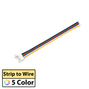 PN 3075 | LED Strip to Wire | Solderless Connector Cable for 5-in-1 LED Strip - 10 PACK