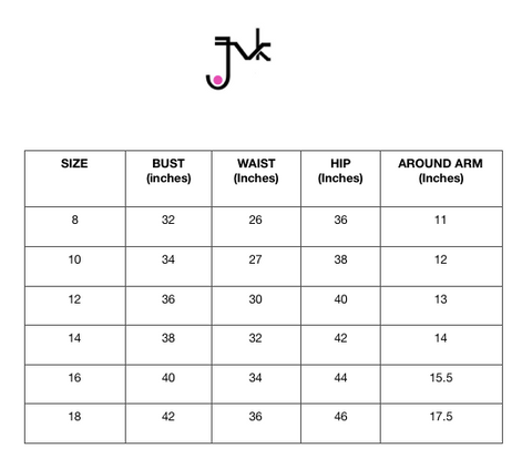 JVK Clothing Size Chart