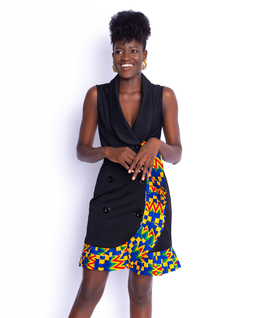 Fashion Anthem Mini Dress: A sleeveless double breasted wrap dress with pleated kente details by JVK Clothing