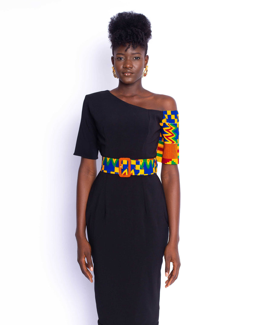 Fine Wine Midi Dress: A fitted off shoulder dress featuring a contrasting kente sleeve and belt by JVK Clothing
