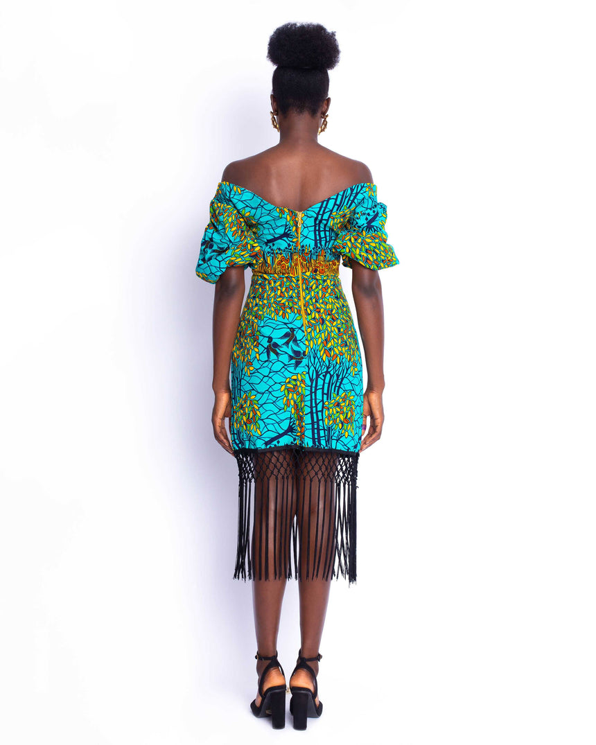 Video Vixen Mini Dress: An off shoulder puff sleeve dress with fun tassels for added drama by JVK Clothing