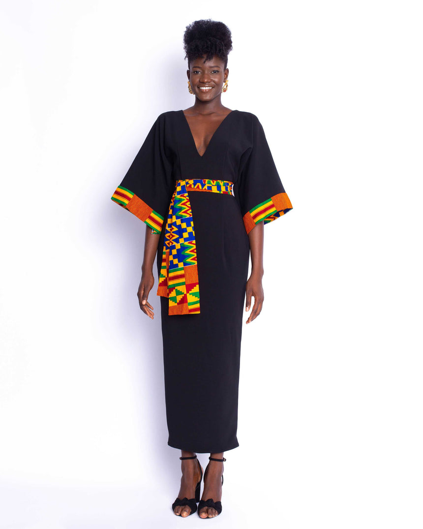Melanin Goddess Kimono Dress: A two toned belted kimono inspired midi dress with bold kente accents by JVK Clothing