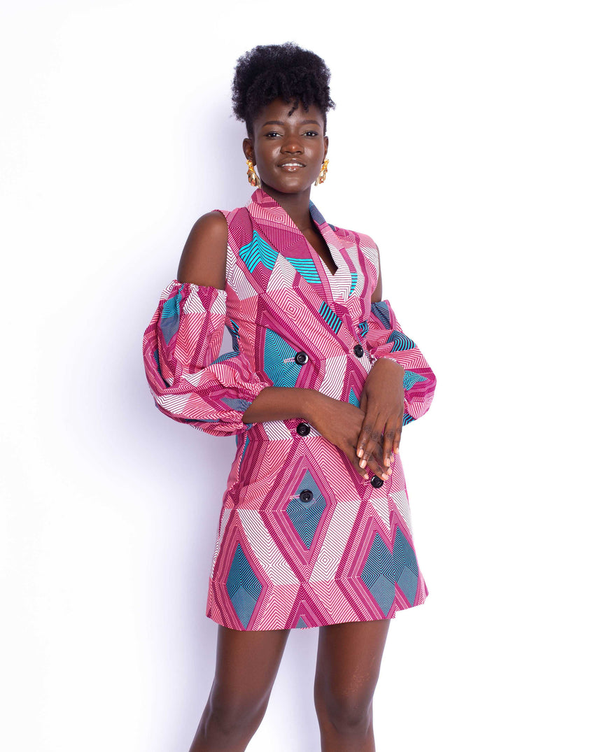 Powerpuff Girl Mini Dress: An A line double breasted dress with cut out oversized puff sleeves by JVK Clothing