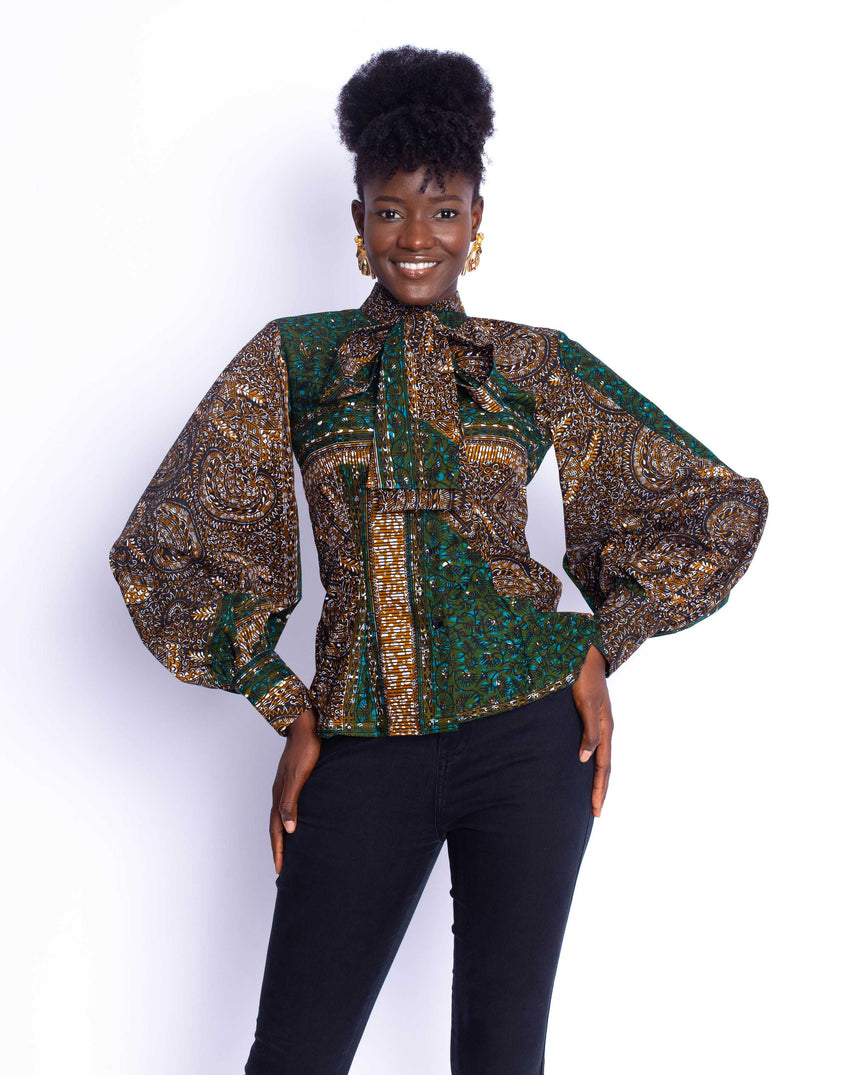 Best Foot Forward Top: A fitted bell sleeve ankara shirt  with an attached bow by JVK Clothing