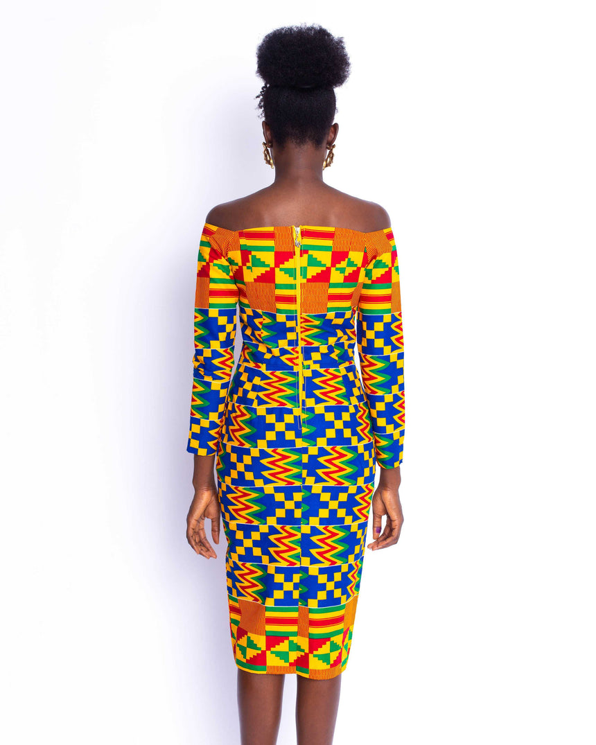 High Tea Lover Kente Dress: A fitted off shoulder midi dress with a 3/4 sleeve and a thigh high slit by JVK Clothing