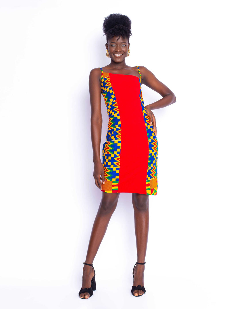 Risque Mini Kente Dress: A bright red and kente combo fitted assymetrical mini dress by JVK Clothing