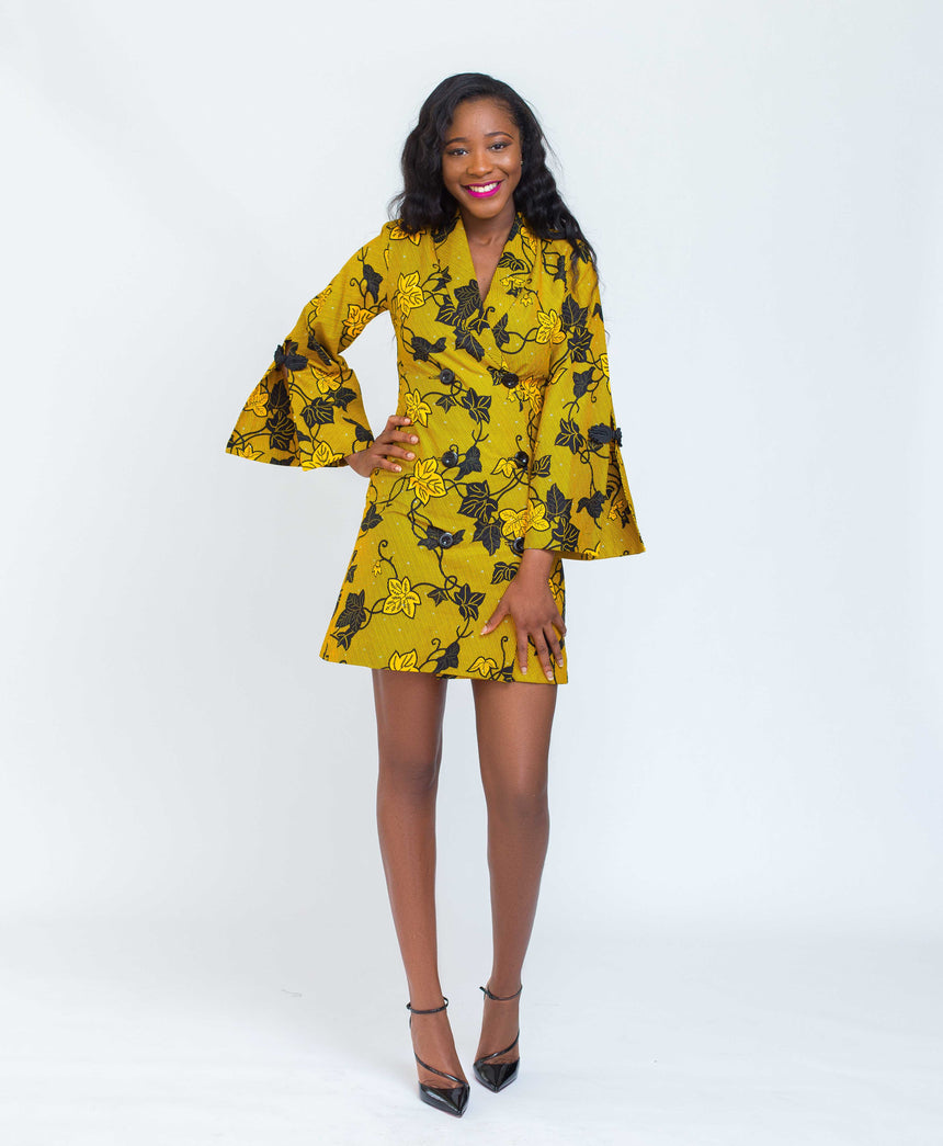 Obiba JK padded shoulder bell sleeves mini jacket dress by JVK clothing