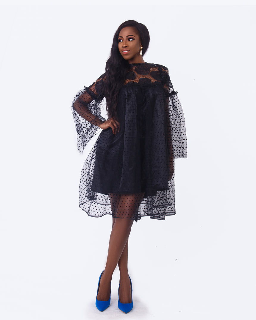 24 Carat Magic Dress, A black baby doll dress featuring lace and spotted net with transparent bell sleeves perfect for a night out by JVK