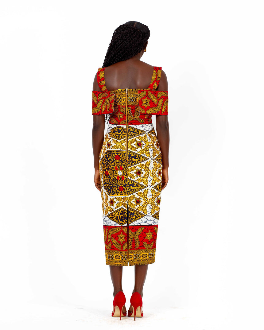 Apor Kronkron - A caped off shoulder fitted pencil midi dress with straps made with African print fabric by JVK Clothing