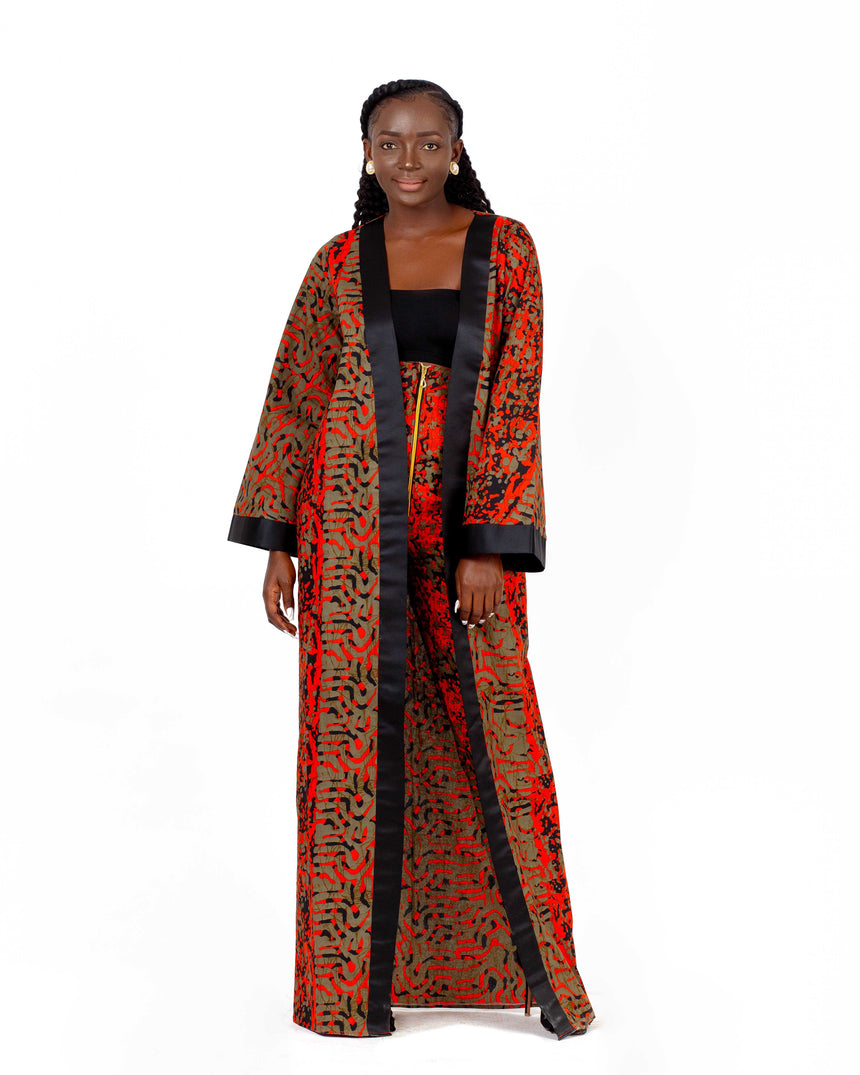 Holy Chic - A two piece long sleeve kimono with a contrasting satin neck line and fitted high waist pants made with African print fabric by JVK Clothing