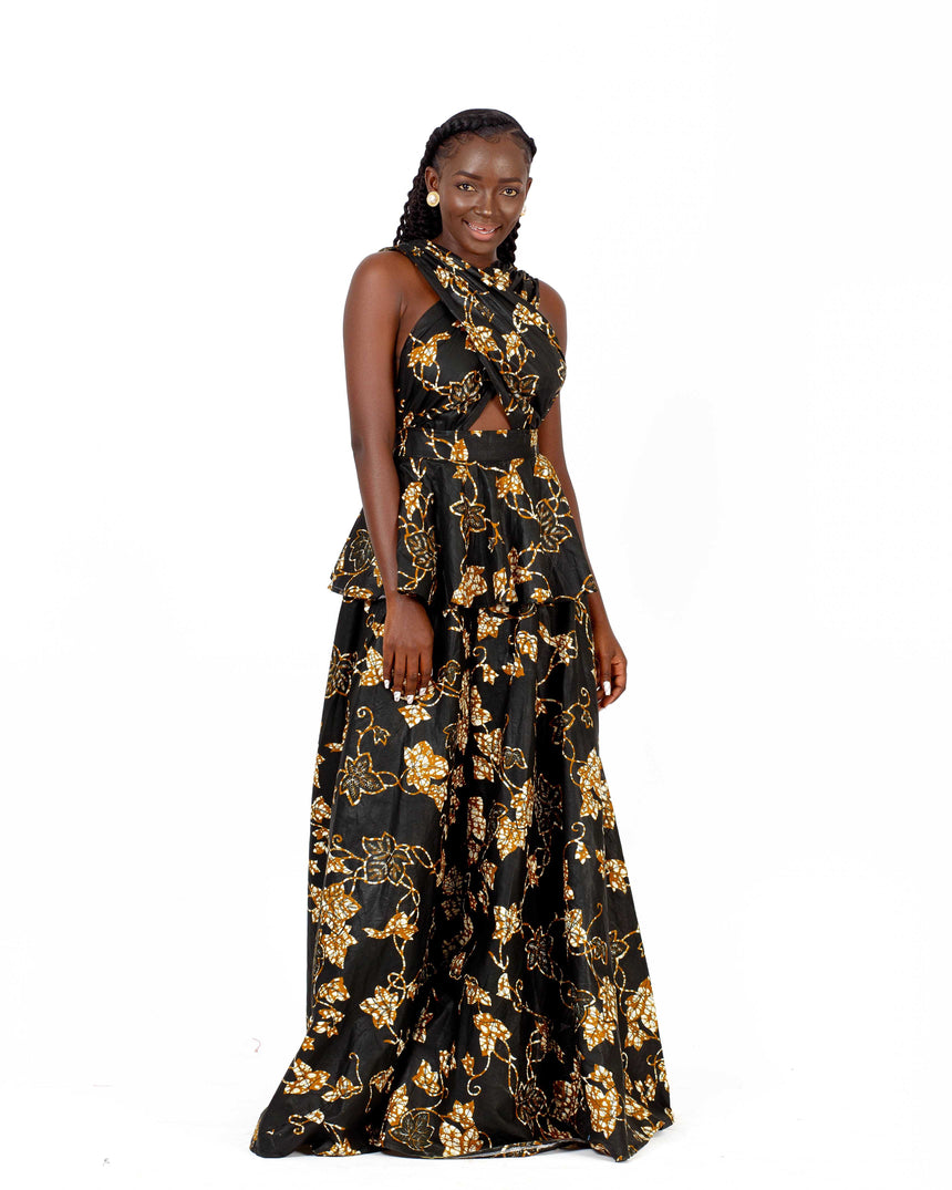 Black Drama Queen - A dramatic maxi dress with a bare back with zipper and a criss cross front made with quality African print fabric by JVK Clothing