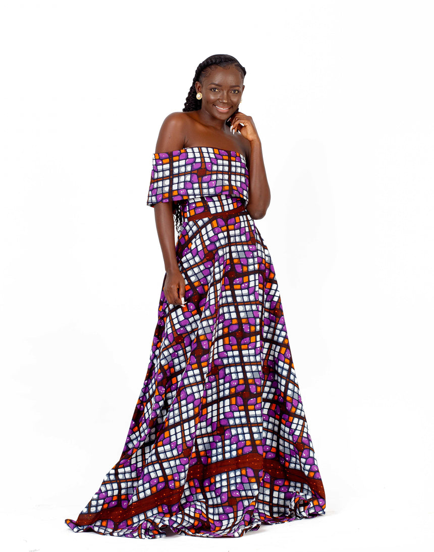 Endless Love - An assymetrical off shoulder maxi dress featuring a back zipper made with African print fabric by JVK Clothing
