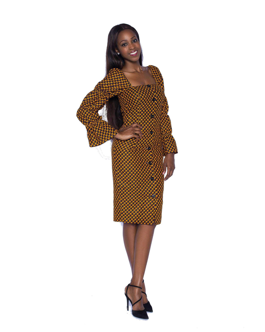 Axim Delight Midi Dress by JVK Clothing. A fitted square neck button down midi dress made with African print fabric featuring elasticated long sleeves. Ideal for both formal and semi formal events with the right pair of shoes.