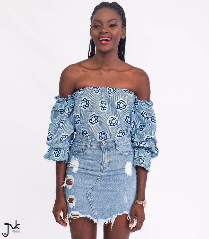 Yaa Baby Off Shoulder Top, An off-shoulder top with elasticated pull up sleeves made with African print fabric by JVK