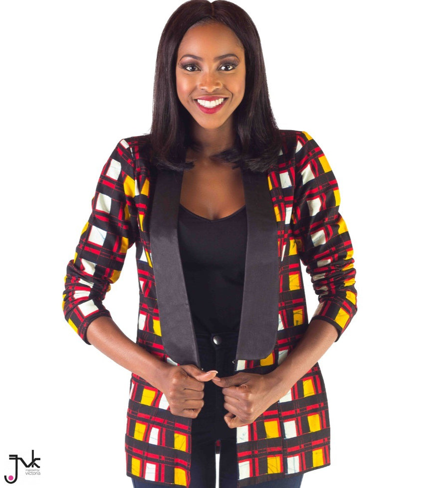Check Me Out Jacket, A long sleeve, shoulder padded jacket with a satin collar for contrast made with African print fabric by JVK