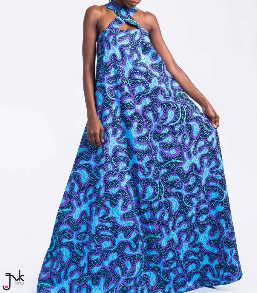 High Maintenance Maxi Dress, A vibrant maxi dress with a criss cross chest detail made with African print fabric by JVK