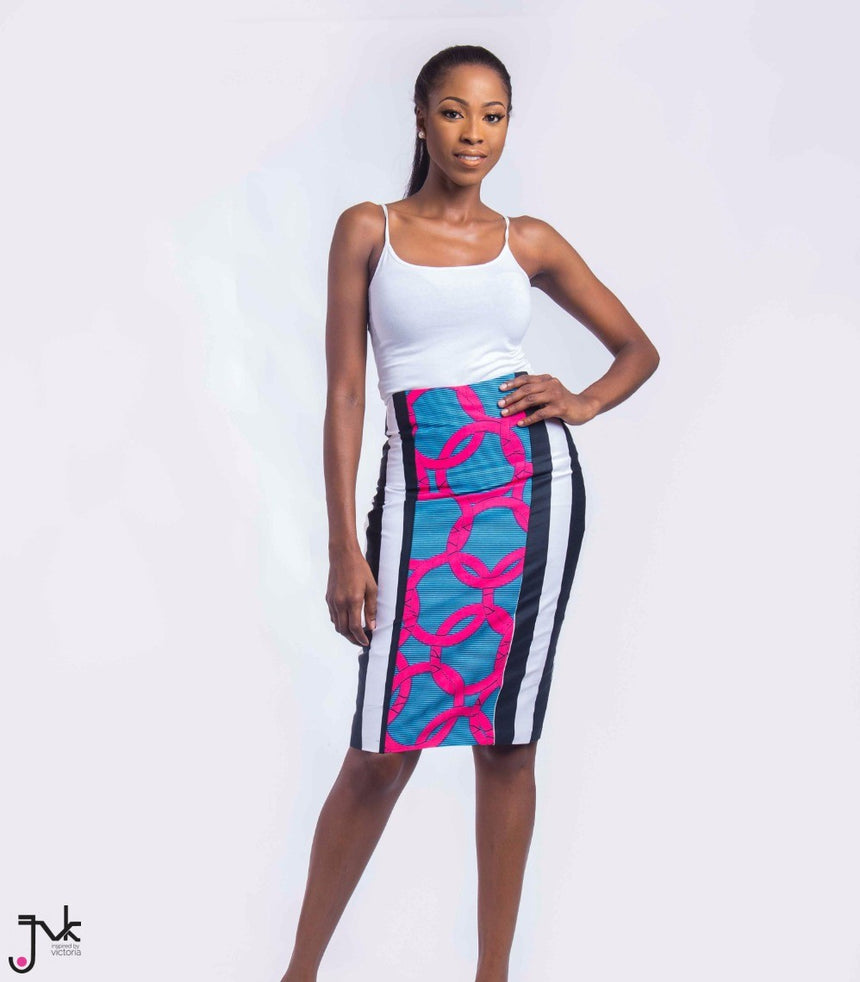 Darling Girl Skirt, A two toned fitted midi pencil skirt made with African print fabric by JVK