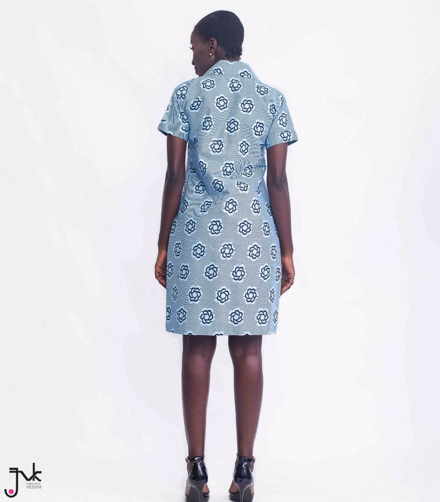 Star Girl Combo, A contrasting long shirt and skirt combo made with African print fabric by JVK