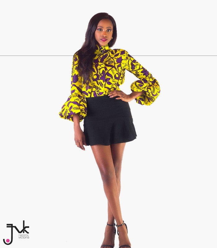 Never Late Tunic Top, A stylish tunic with long balloon sleeves made with African print fabric by JVK