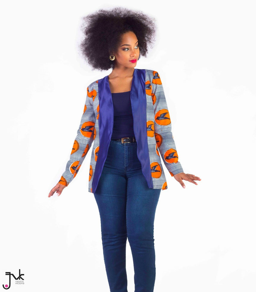 Call My Agent Boyfriend Blazer, A two toned long sleeved boyfriend cut blazer made with African print fabric by JVK