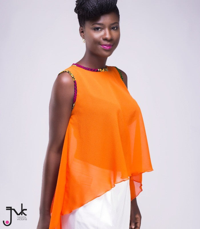 Orange Curls n Roses Top, A flowy, assymetrical sleeveless cut out blouse by JVK