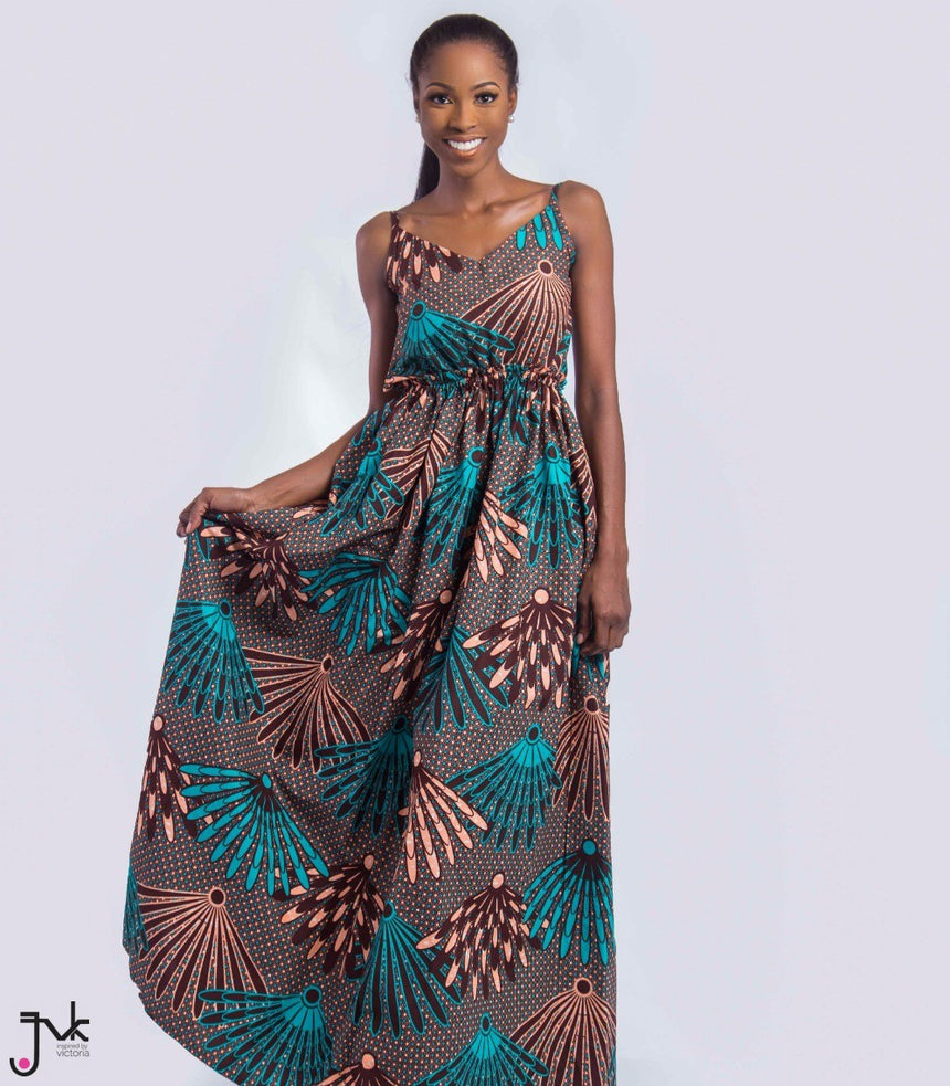 Sunkissed Bareback Maxi Dress, A bare back sleeveless maxi dress made with African print fabric by JVK