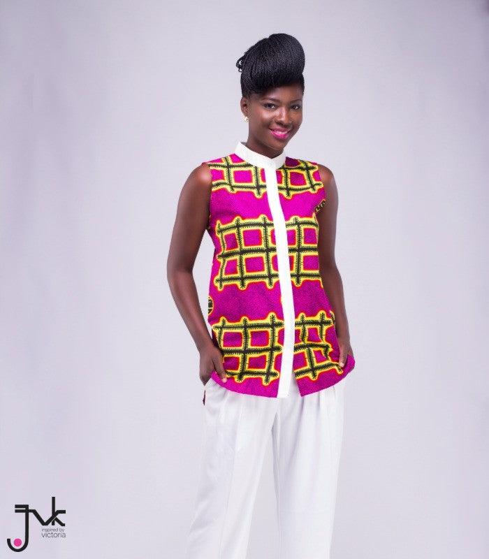 Up for Discussion, An assymetrical two toned shirt featuring a white collar and hidden buttons made African print fabric by JVK