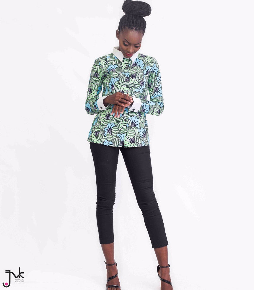Top Notch Fitted Shirt, A fitted long sleeve shirt with contrasting collar and cuffs made with African print fabric by JVK