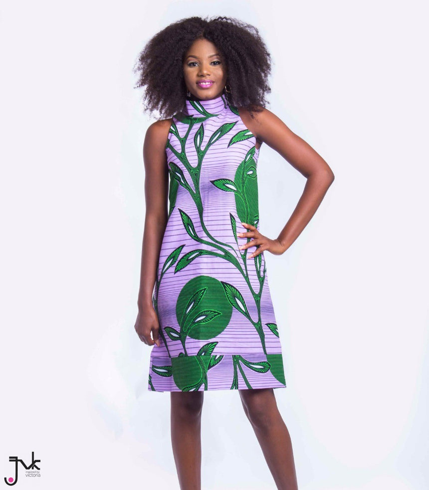 Jasmine A-Line Dress, A sleeveless A-Line dress with a high neckline made with African print fabric by JVK