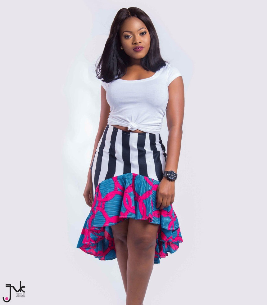 On Point Two Toned Skirt, A brightly colored two tone assymetrical skirt made with African print fabric by JVK