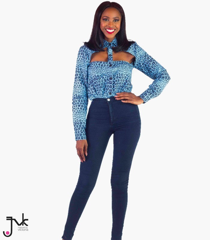 Melodrama Cut Out Top, A stylish long sleeve cut out shirt made with African print fabric by JVK
