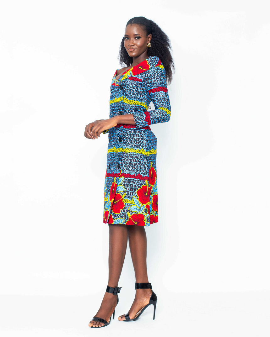 Daydreamer Jacket Dress is A double breasted A-line midi length with long sleeves  made with Ankara fabric with an  alluring floral pattern by jvkclothing