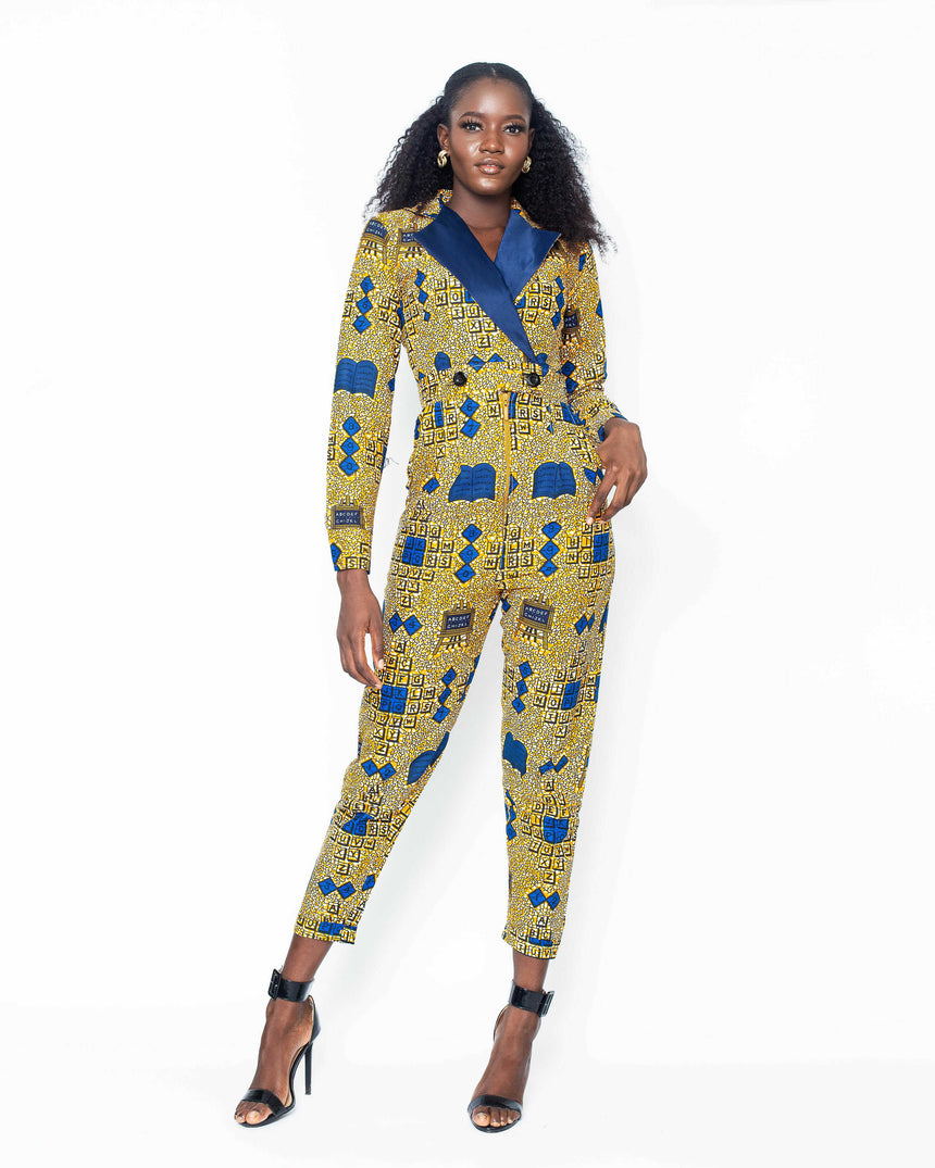Walk The Talk Long Sleeve Jumpsuit, A Fitted Long Sleeve Jumpsuit made with Ankara fabric by jvkclothing
