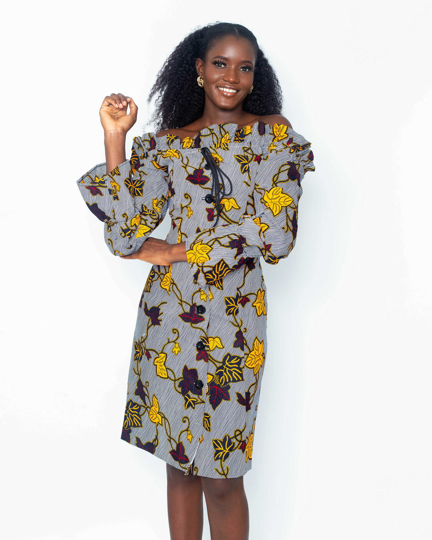 Love Me Tender A Line Dress is A button down A-line ankara dress with long elasticated sleeves and a draw string off-shoulder by JVK Clothing