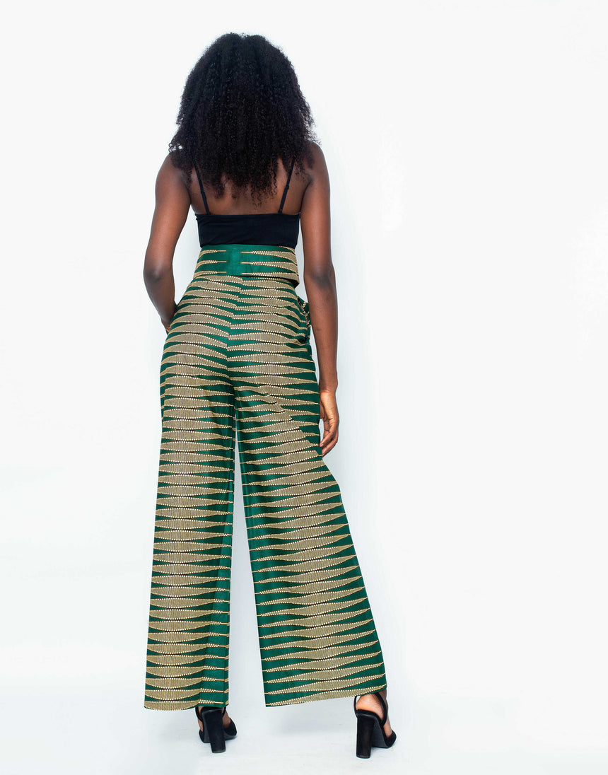 No Filter Wide Leg Pants is A loosely fitted, high waisted, wide legged palazzo pants made with Ankara fabric by JVK Clothing