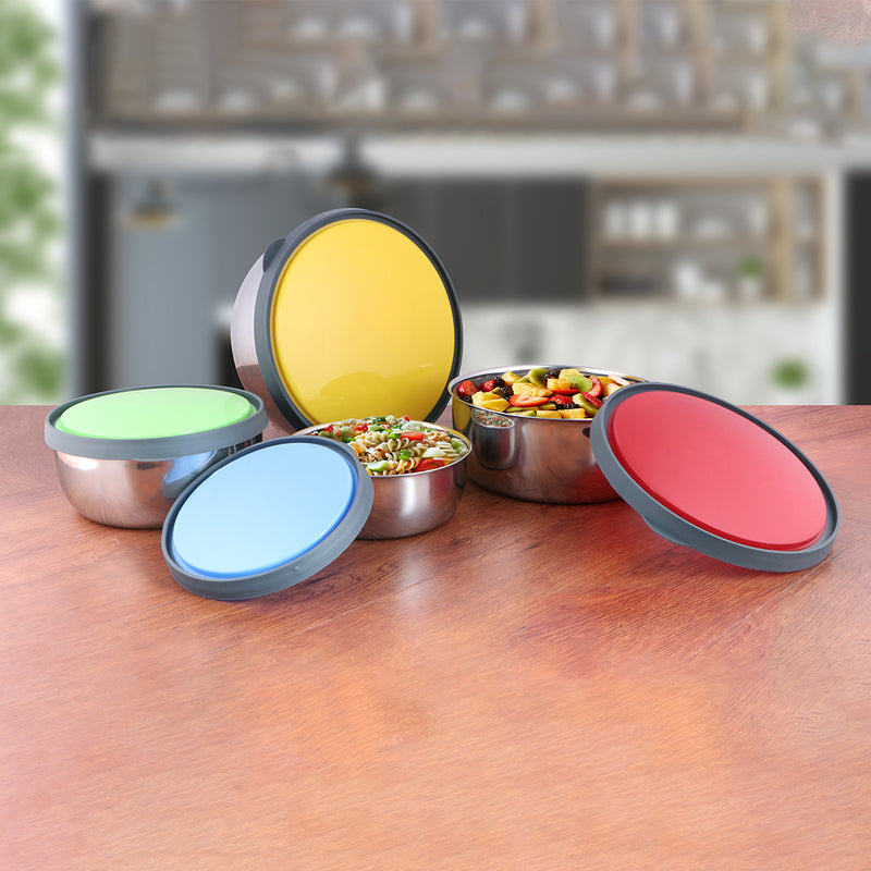 4 PCS Storage Container with Multi color Lid - Fresca