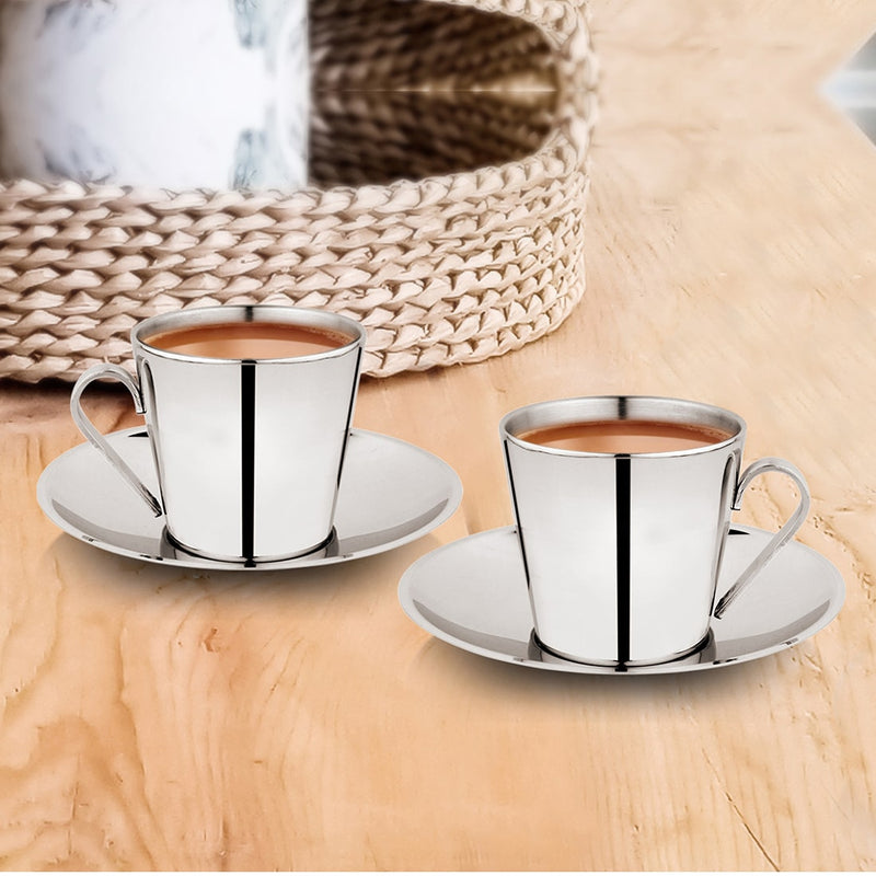 2 PCS Double Wall Cup and Saucer - V SHAPE